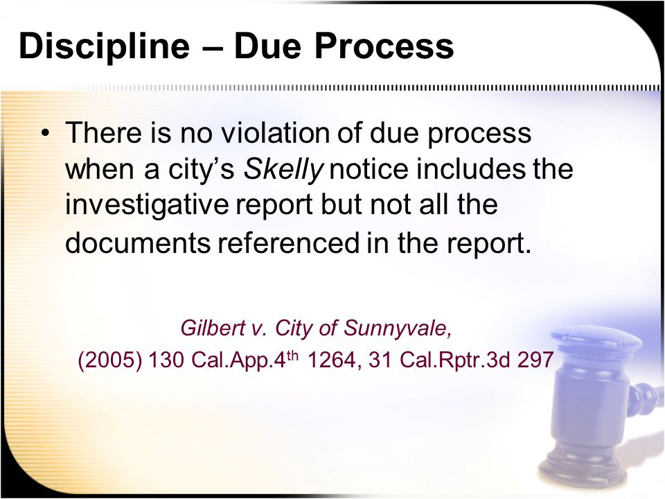 Discipline – Due Process There is no violation of due process when a city's Skelly notice includes the investigative report but not all the documents referenced in the report.