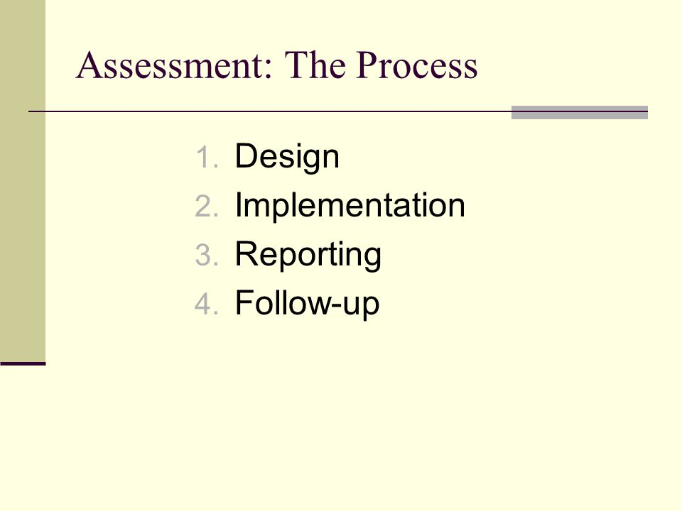 Assessment: The Process 1. Design 2. Implementation 3. Reporting 4. Follow-up