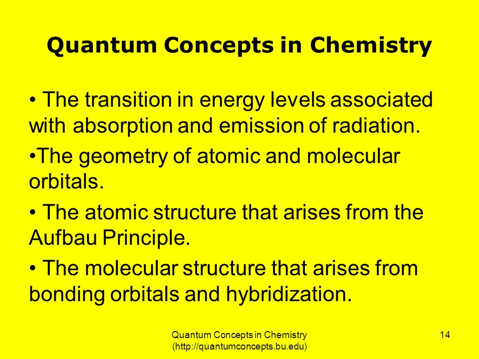 Quantum Concepts in Chemistry (http://quantumconcepts.bu.edu) 14 Quantum Concepts in Chemistry The transition in energy levels associated with absorption and emission of radiation.
