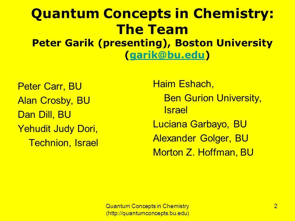 Quantum Concepts in Chemistry (http://quantumconcepts.bu.edu) 2 Quantum Concepts in Chemistry: The Team Peter Garik (presenting), Boston University (g
