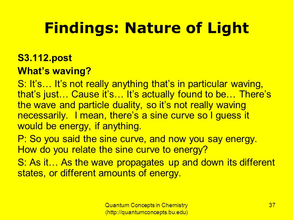 Quantum Concepts in Chemistry (http://quantumconcepts.bu.edu) 37 Findings: Nature of Light S3.112.post What's waving.