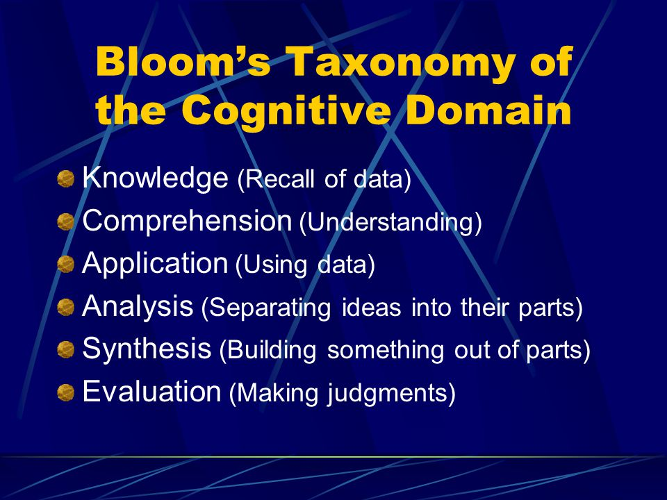Bloom's Taxonomy of the Cognitive Domain Knowledge (Recall of data) Comprehension (Understanding) Application (Using data) Analysis (Separating ideas