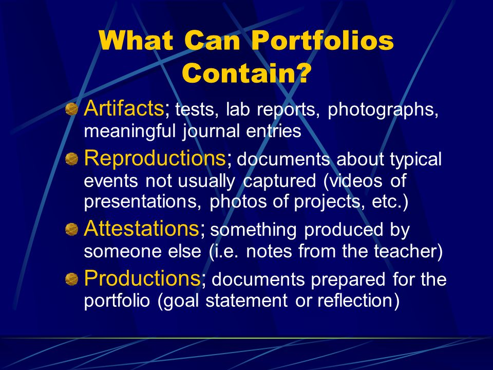 What Can Portfolios Contain.