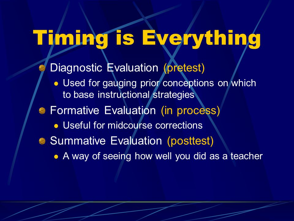 Timing is Everything Diagnostic Evaluation (pretest) Used for gauging prior conceptions on which to base instructional strategies Formative Evaluation