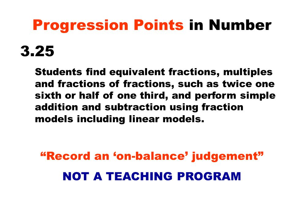 Progression Points in Number 3.25 Students find equivalent fractions, multiples and fractions of fractions, such as twice one sixth or half of one third, and perform simple addition and subtraction using fraction models including linear models.