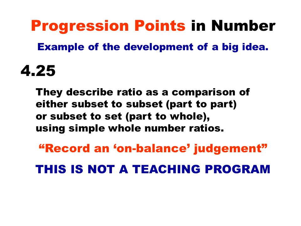 Progression Points in Number Example of the development of a big idea.