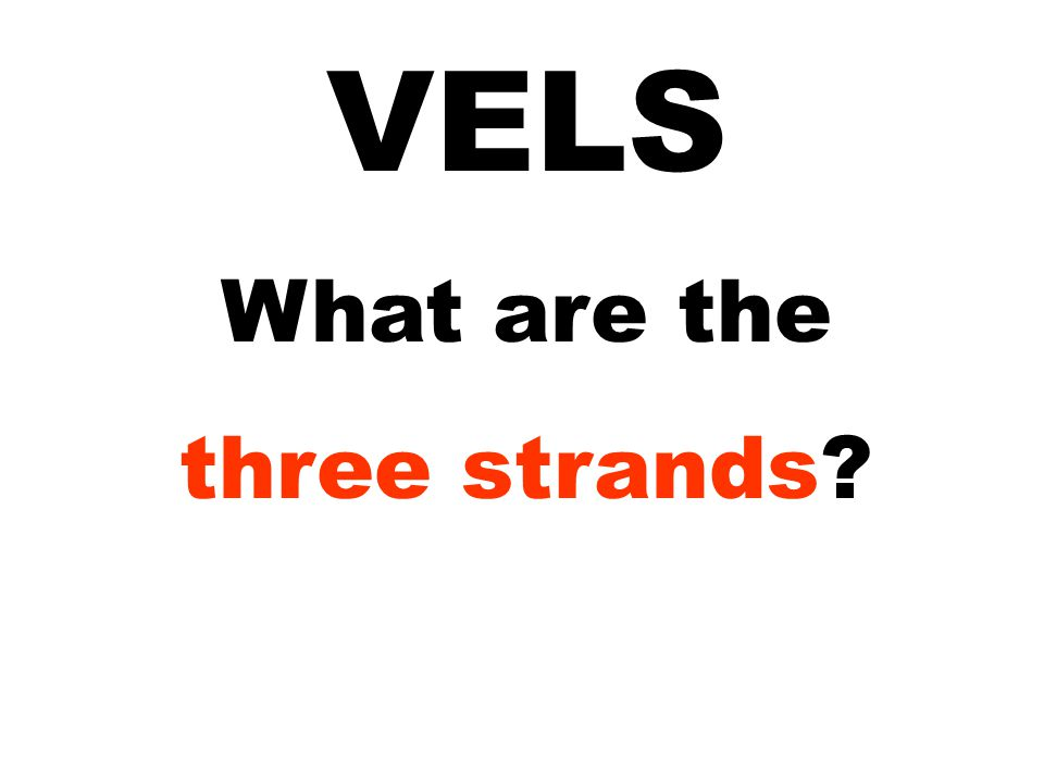 VELS What are the three strands