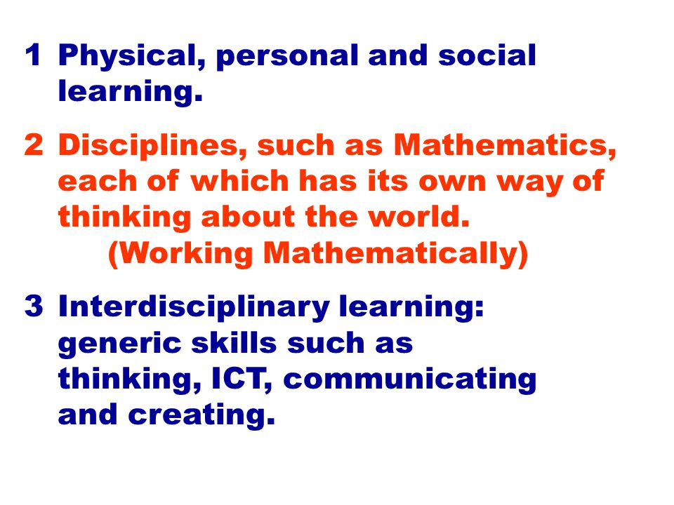 MATHEMATICS has five dimensions: NUMBER SPACE MEASUREMENT combined with CHANCE & DATA STRUCTURE and within them all WORKING MATHEMATICALLY