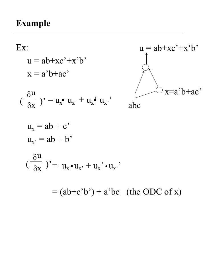 Example Ex: u = ab+xc'+x'b' x = a'b+ac' = u x u x' + u x ' u x' ' u x = ab + c' u x' = ab + b' = u x u x' + u x ' u x' ' = (ab+c'b') + a'bc (the ODC of x) u = ab+xc'+x'b' x=a'b+ac' abc   u x ( )'   u x (