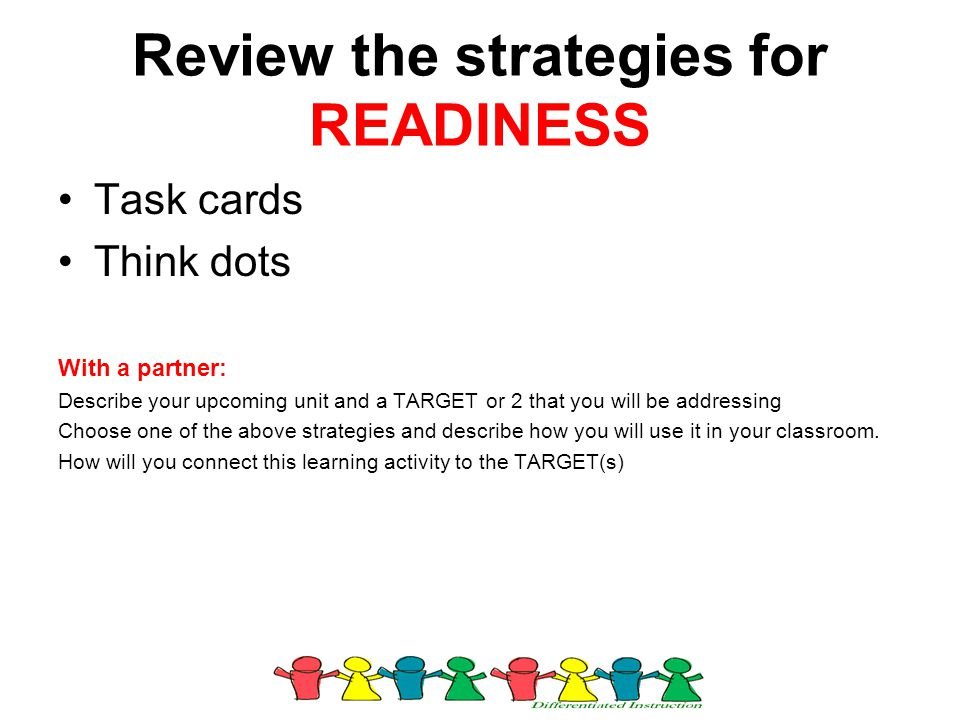 Review the strategies for READINESS Task cards Think dots With a partner: Describe your upcoming unit and a TARGET or 2 that you will be addressing Ch