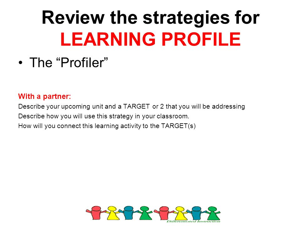 """Review the strategies for LEARNING PROFILE The """"Profiler"""" With a partner: Describe your upcoming unit and a TARGET or 2 that you will be addressing De"""