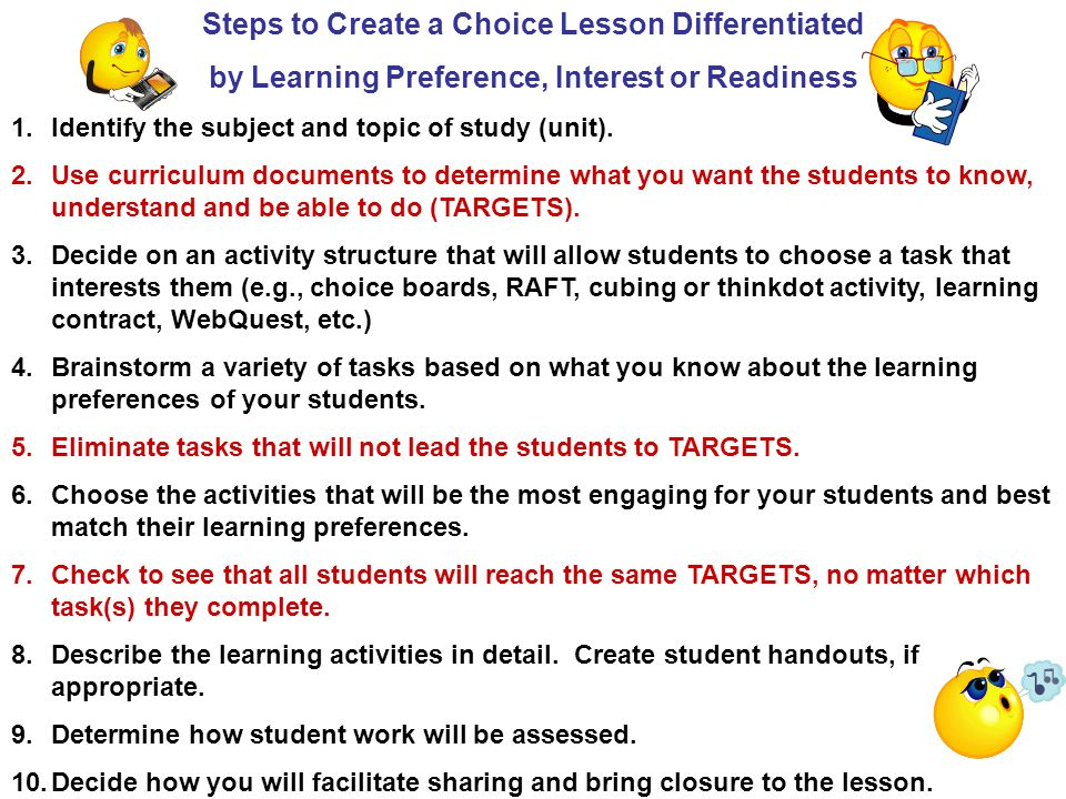 Steps to Create a Choice Lesson Differentiated by Learning Preference, Interest or Readiness 1.Identify the subject and topic of study (unit).