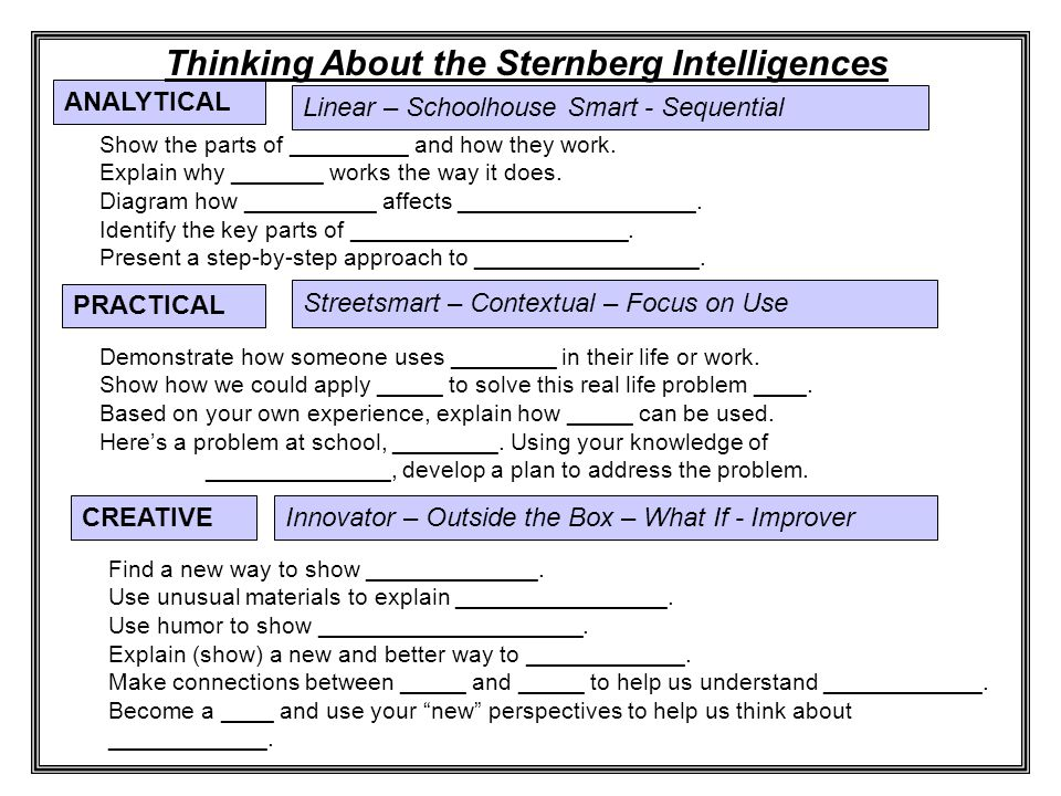 Linear – Schoolhouse Smart - Sequential ANALYTICAL Thinking About the Sternberg Intelligences Show the parts of _________ and how they work.