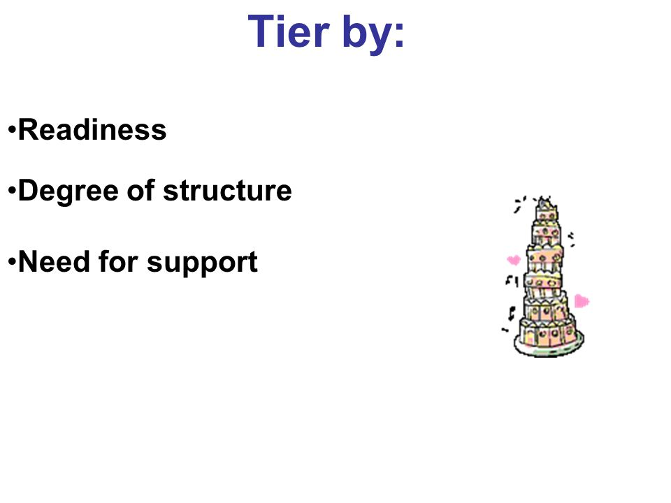 Tier by: Readiness Degree of structure Need for support