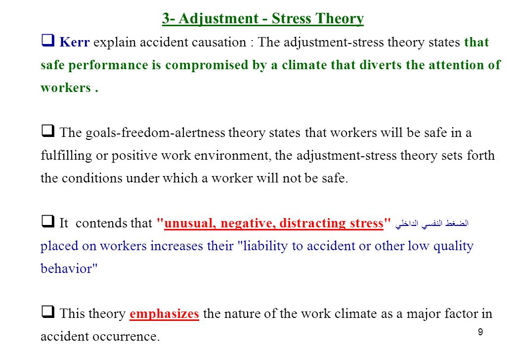 10 Adjustment-Stress Theory cont. Kerr referred to the theory as a climate theory.