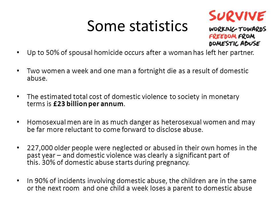 Some statistics Up to 50% of spousal homicide occurs after a woman has left her partner. Two women a week and one man a fortnight die as a result of d