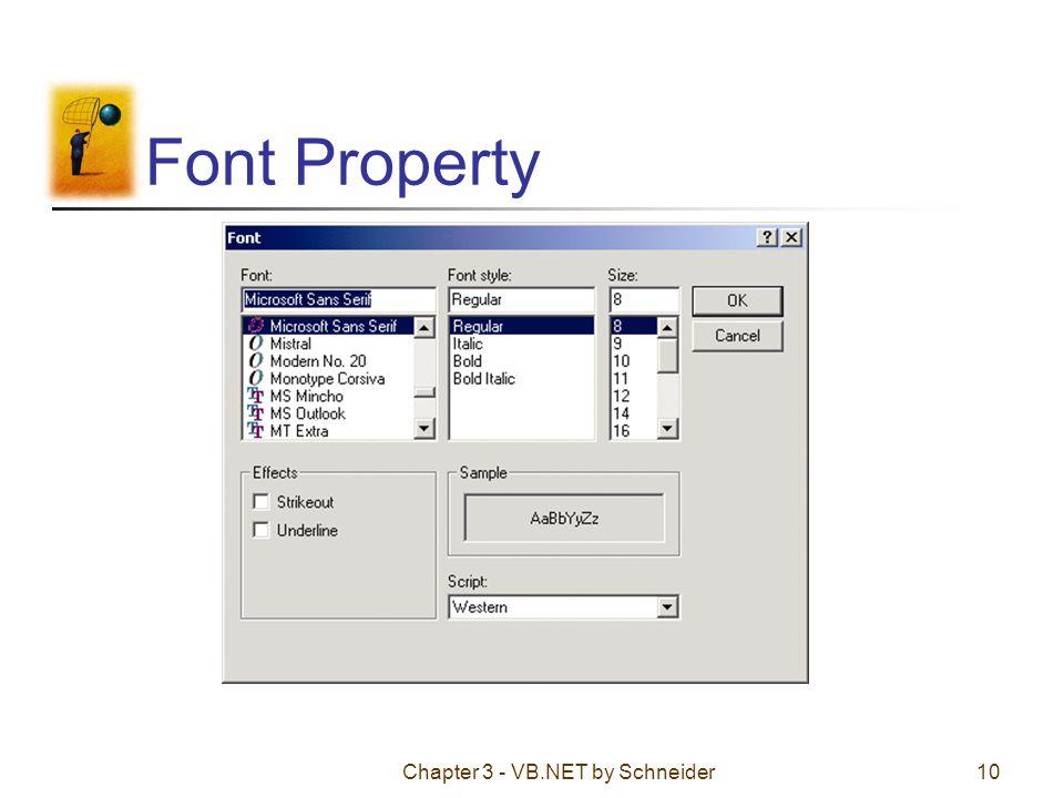Chapter 3 - VB.NET by Schneider10 Font Property