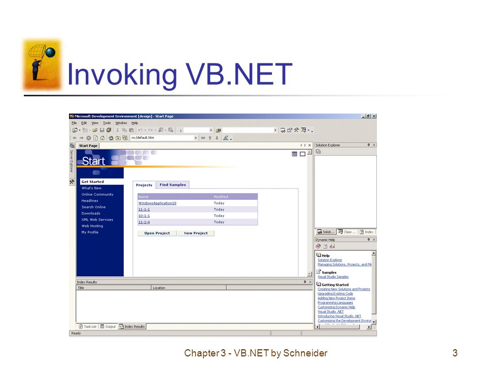Chapter 3 - VB.NET by Schneider34 Initialization Numeric variables are automatically initialized to 0: Dim varName As Double To specify a nonzero initial value Dim varName As Double = 50