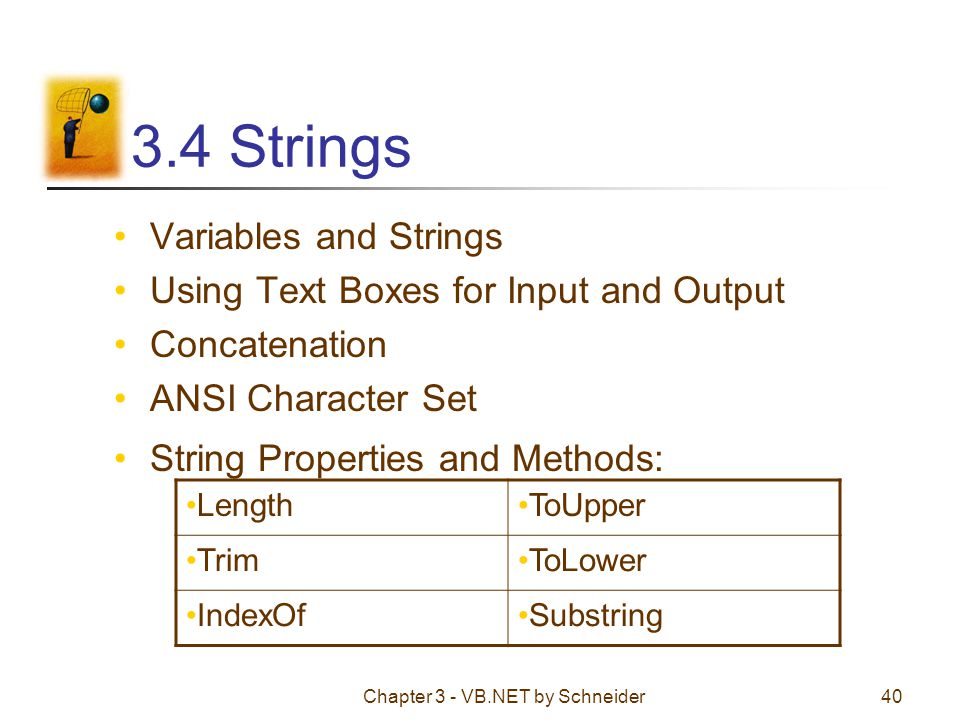 Chapter 3 - VB.NET by Schneider40 3.4 Strings Variables and Strings Using Text Boxes for Input and Output Concatenation ANSI Character Set String Prop