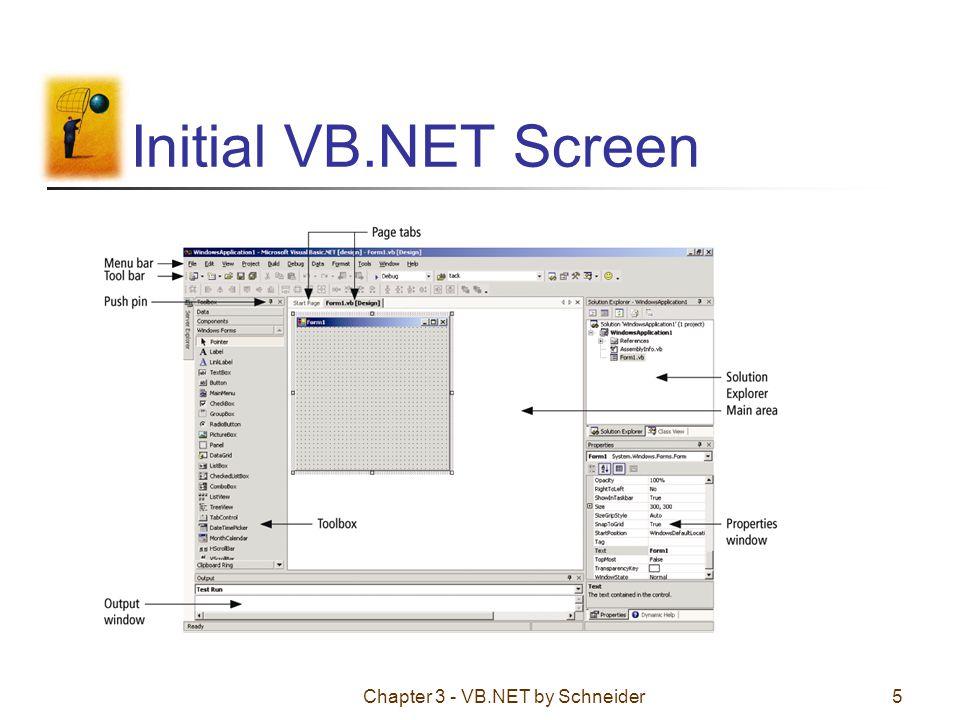 Chapter 3 - VB.NET by Schneider5 Initial VB.NET Screen