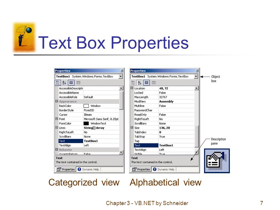 Chapter 3 - VB.NET by Schneider28 Assigning properties in code The following won t work: Form1.Text = Demonstration The form is referred to by the keyword Me.