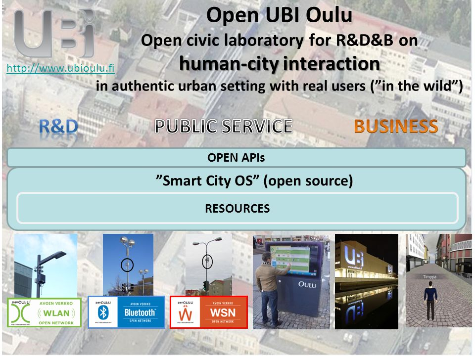 2 human-city interaction Open UBI Oulu Open civic laboratory for R&D&B on human-city interaction in authentic urban setting with real users ( in the wild ) http://www.ubioulu.fi Smart City OS (open source) RESOURCES OPEN APIs