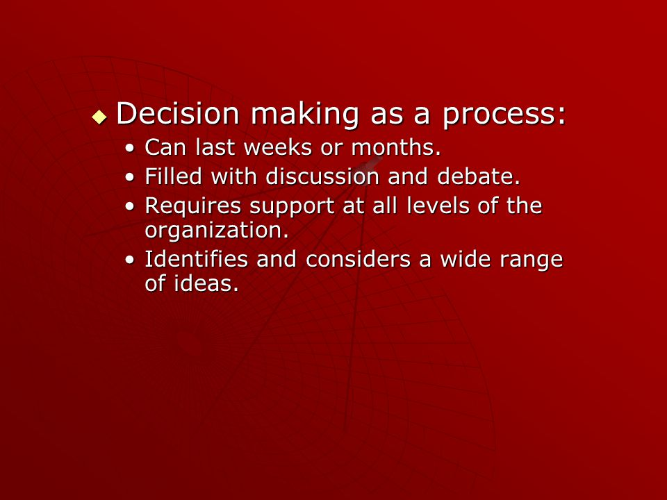 Conclusion  There are 2 approaches to decision making 1.Advocacy (BAD) 2.Inquiry (GOOD)  In order to move from advocacy to inquiry pay attention the 3 C's ConflictConflict ConsiderationConsideration ClosureClosure Thank you!