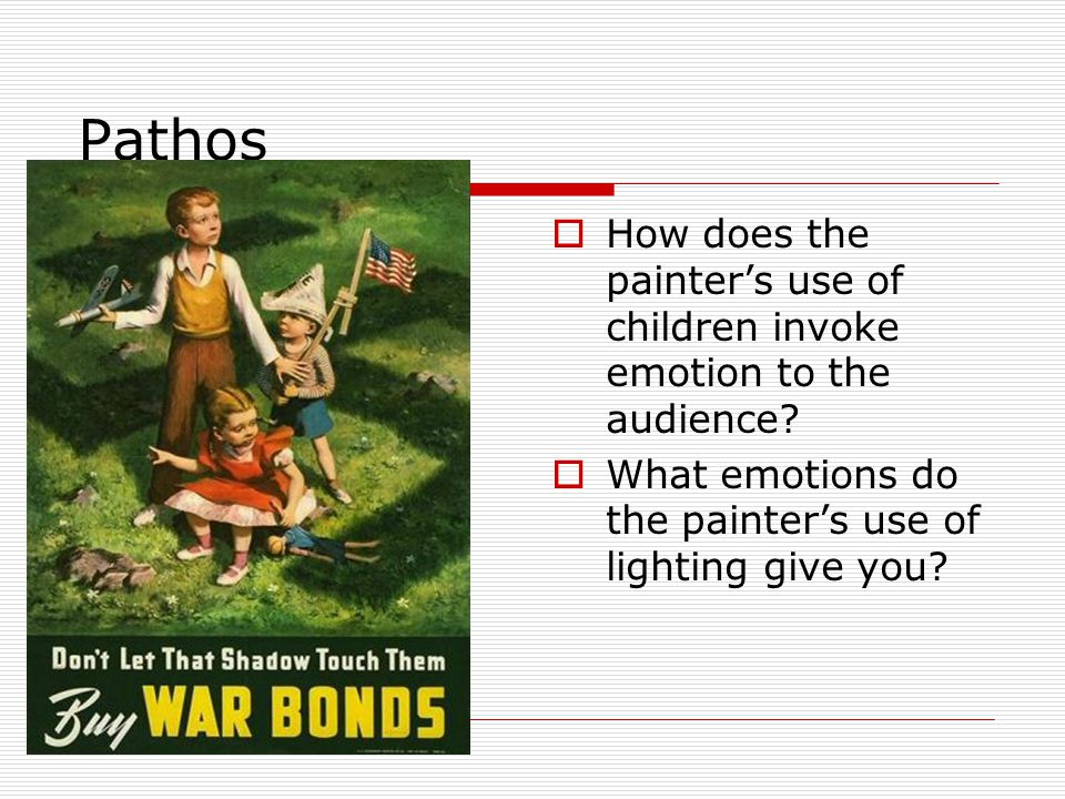 Pathos  How does the painter's use of children invoke emotion to the audience.