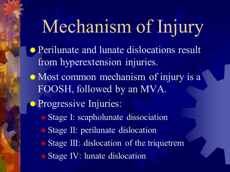 Mechanism of Injury  Perilunate and lunate dislocations result from hyperextension injuries.  Most common mechanism of injury is a FOOSH, followed b