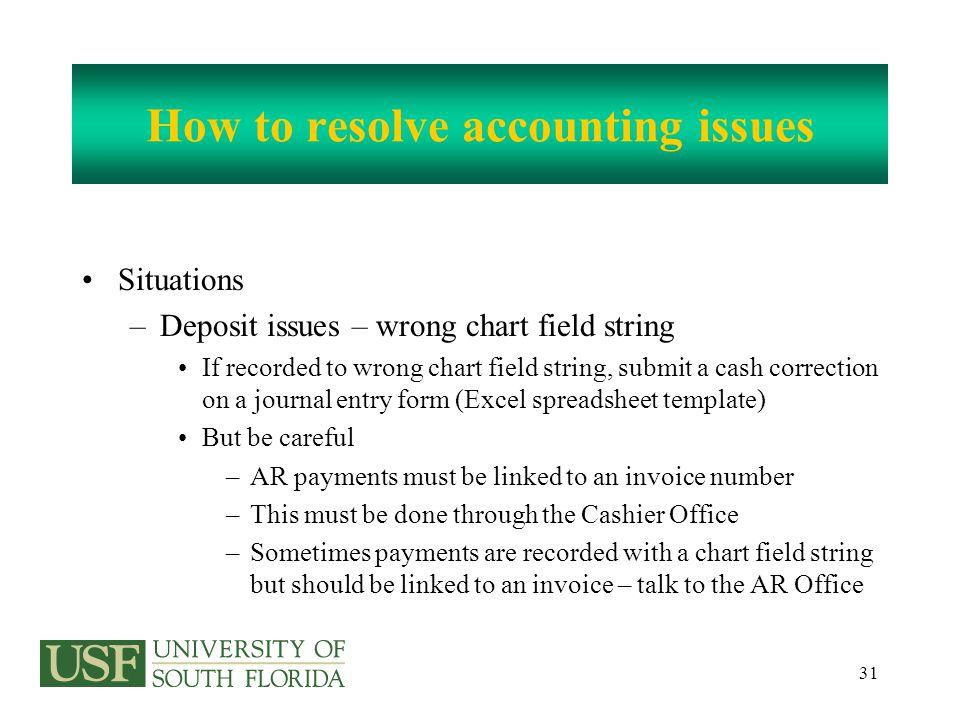 Send The Journal Entries To Expenditure transfers RNSexpt@usf.edu Cash receipt corrections RNSinterdept@usf.edu Departmental billings RNSinterdept@usf.edu