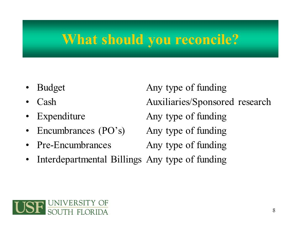 8 What should you reconcile.