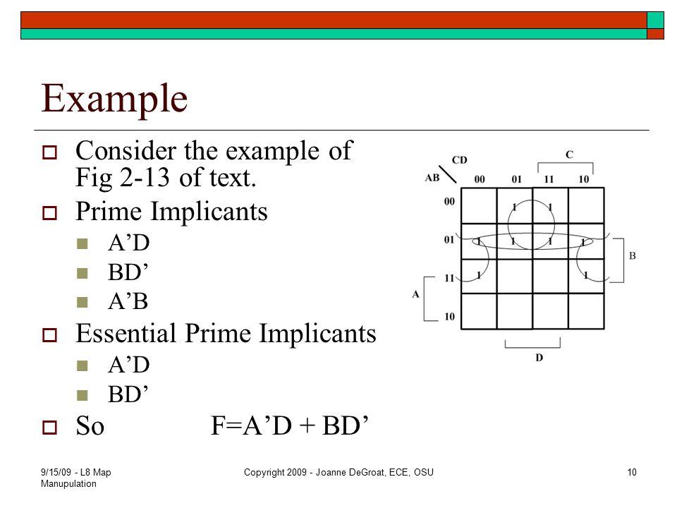 Example  Consider the example of Fig 2-13 of text.  Prime Implicants A'D BD' A'B  Essential Prime Implicants A'D BD'  So F=A'D + BD' 9/15/09 - L8