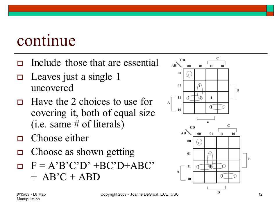 continue  Include those that are essential  Leaves just a single 1 uncovered  Have the 2 choices to use for covering it, both of equal size (i.e. s