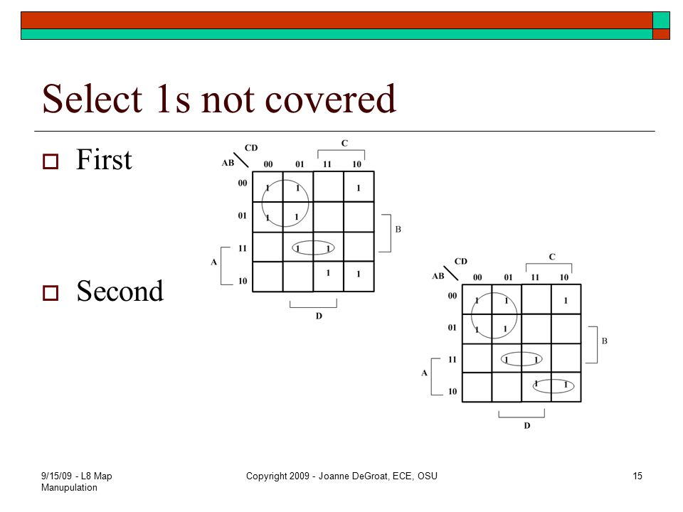 Select 1s not covered  First  Second 9/15/09 - L8 Map Manupulation Copyright 2009 - Joanne DeGroat, ECE, OSU15