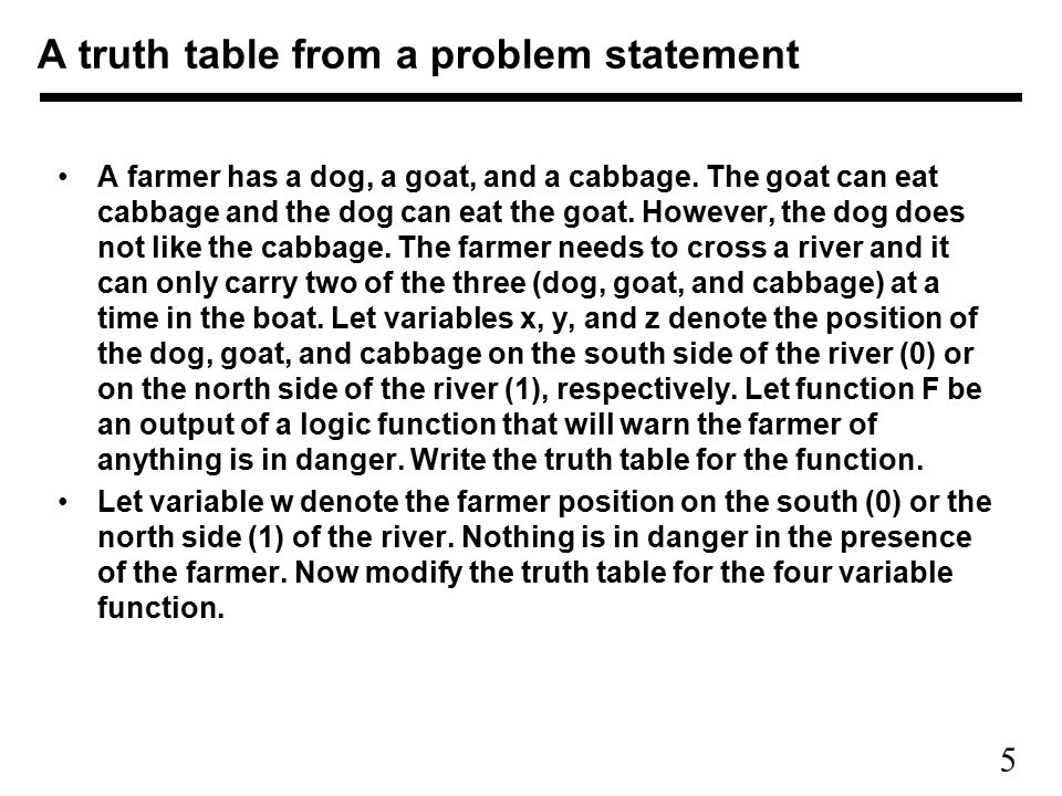 5 A farmer has a dog, a goat, and a cabbage.The goat can eat cabbage and the dog can eat the goat.