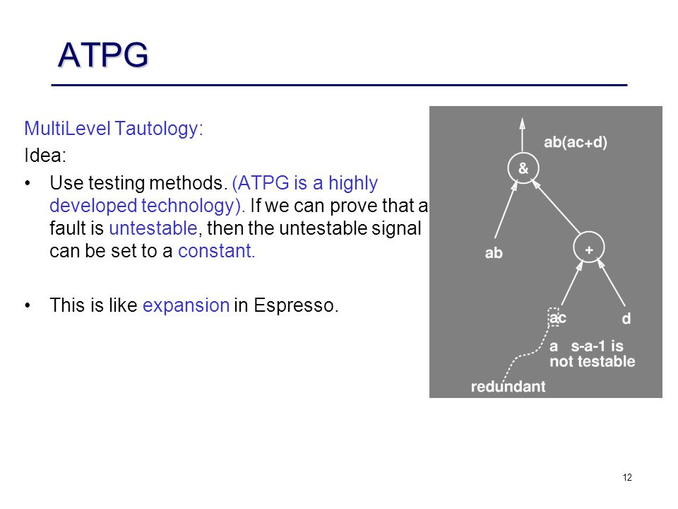 12 ATPG Multi­Level Tautology: Idea: Use testing methods.