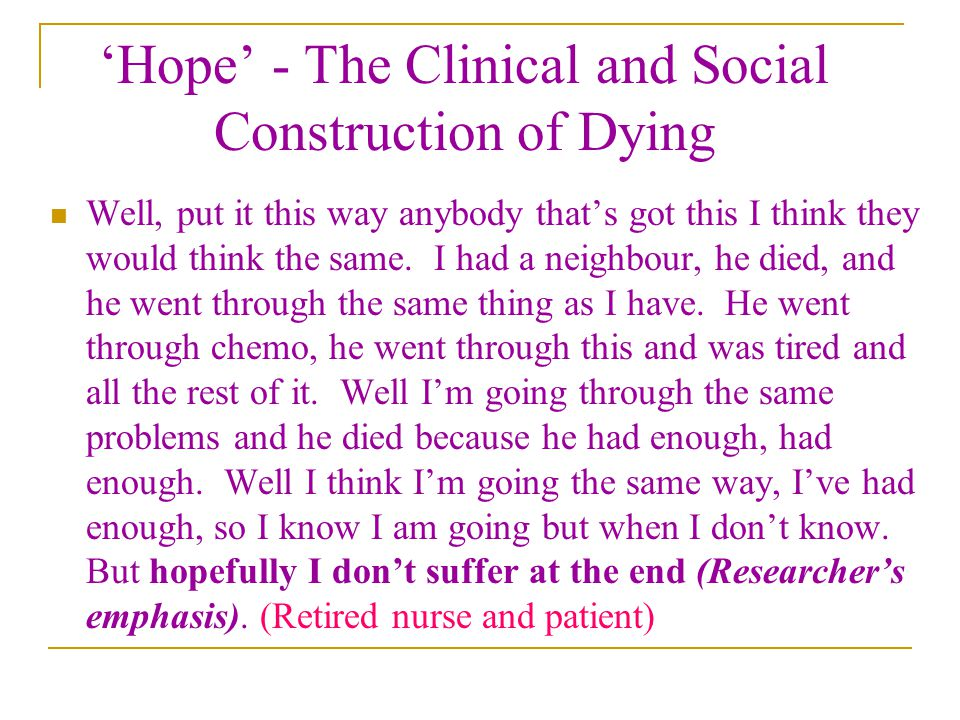'Hope' - The Clinical and Social Construction of Dying Well, put it this way anybody that's got this I think they would think the same. I had a neighb