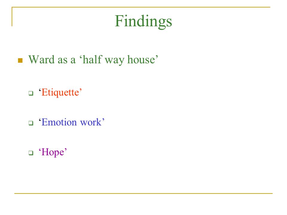 Findings Ward as a 'half way house'  'Etiquette'  'Emotion work'  'Hope'