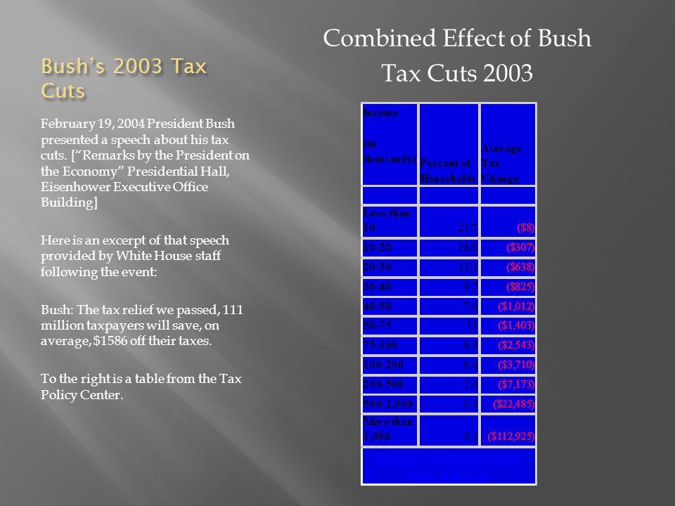 Bush's 2003 Tax Cuts February 19, 2004 President Bush presented a speech about his tax cuts.