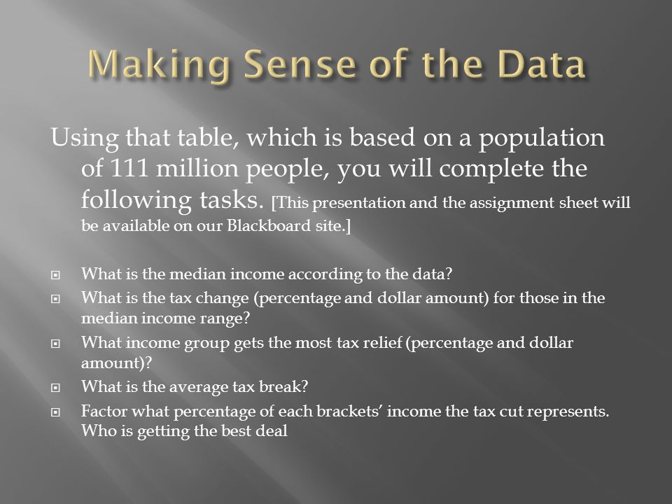 Using that table, which is based on a population of 111 million people, you will complete the following tasks.