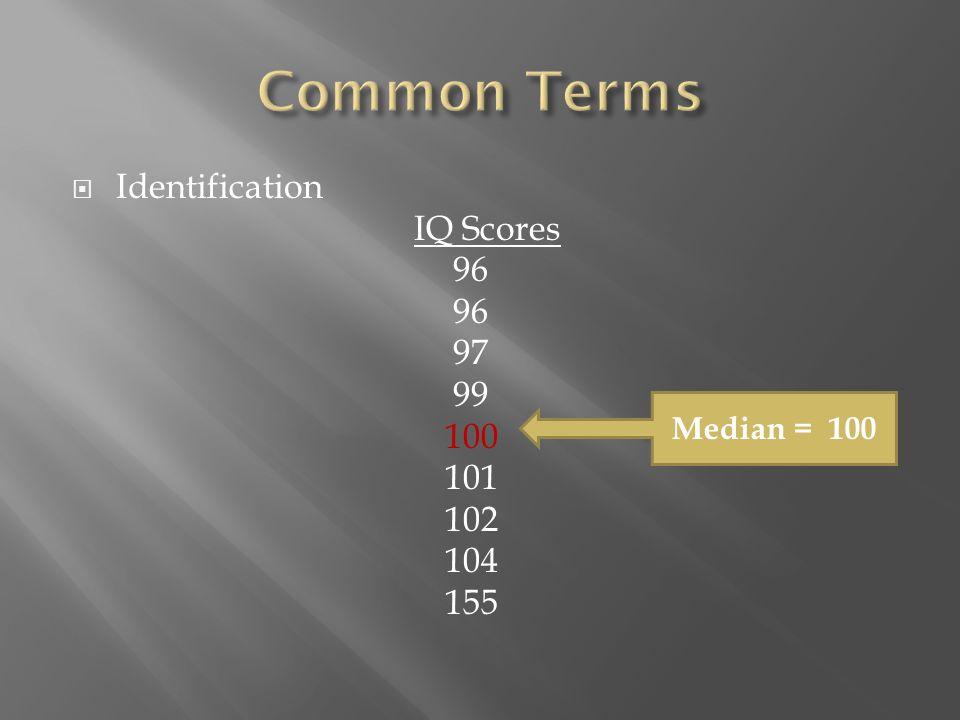 Identification IQ Scores 96 97 99 100 101 102 104 155 Median = 100