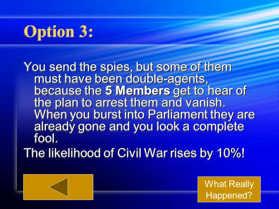 Option 3: You send the spies, but some of them must have been double-agents, because the 5 Members get to hear of the plan to arrest them and vanish.