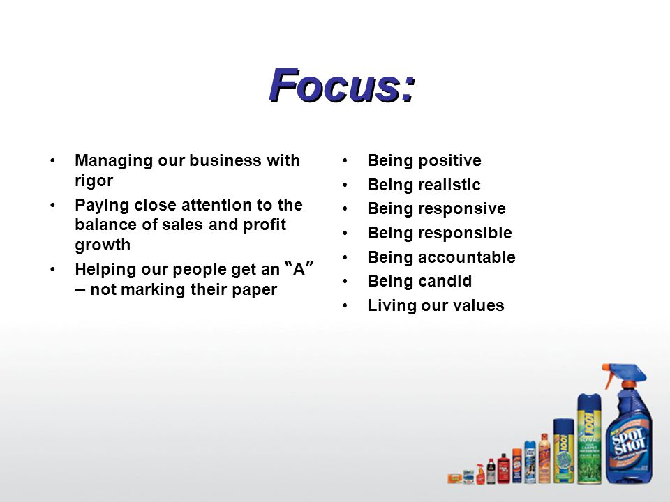"11 Focus: Managing our business with rigor Paying close attention to the balance of sales and profit growth Helping our people get an "" A "" – not mark"