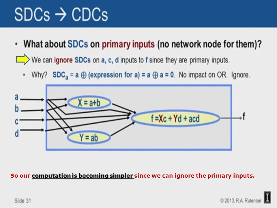 computation is becoming simpler So our computation is becoming simpler since we can ignore the primary inputs.