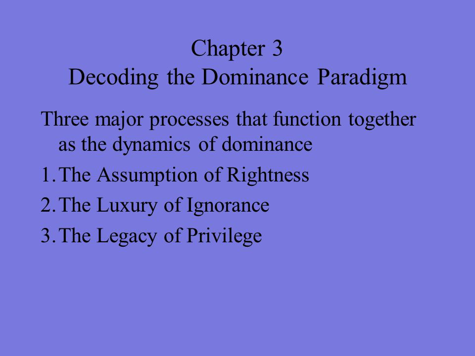 Chapter 3 Decoding the Dominance Paradigm Three major processes that function together as the dynamics of dominance 1.The Assumption of Rightness 2.Th