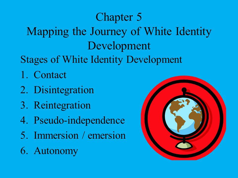 Chapter 5 Mapping the Journey of White Identity Development Stages of White Identity Development 1.Contact 2.Disintegration 3.Reintegration 4.Pseudo-i