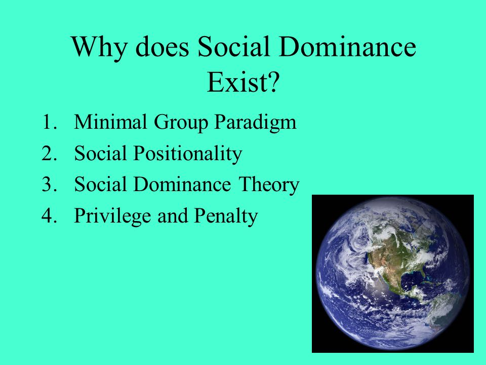 Why does Social Dominance Exist? 1.Minimal Group Paradigm 2.Social Positionality 3.Social Dominance Theory 4.Privilege and Penalty