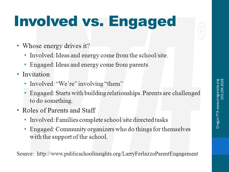 Involved vs. Engaged Whose energy drives it? Involved: Ideas and energy come from the school/site. Engaged: Ideas and energy come from parents Invitat
