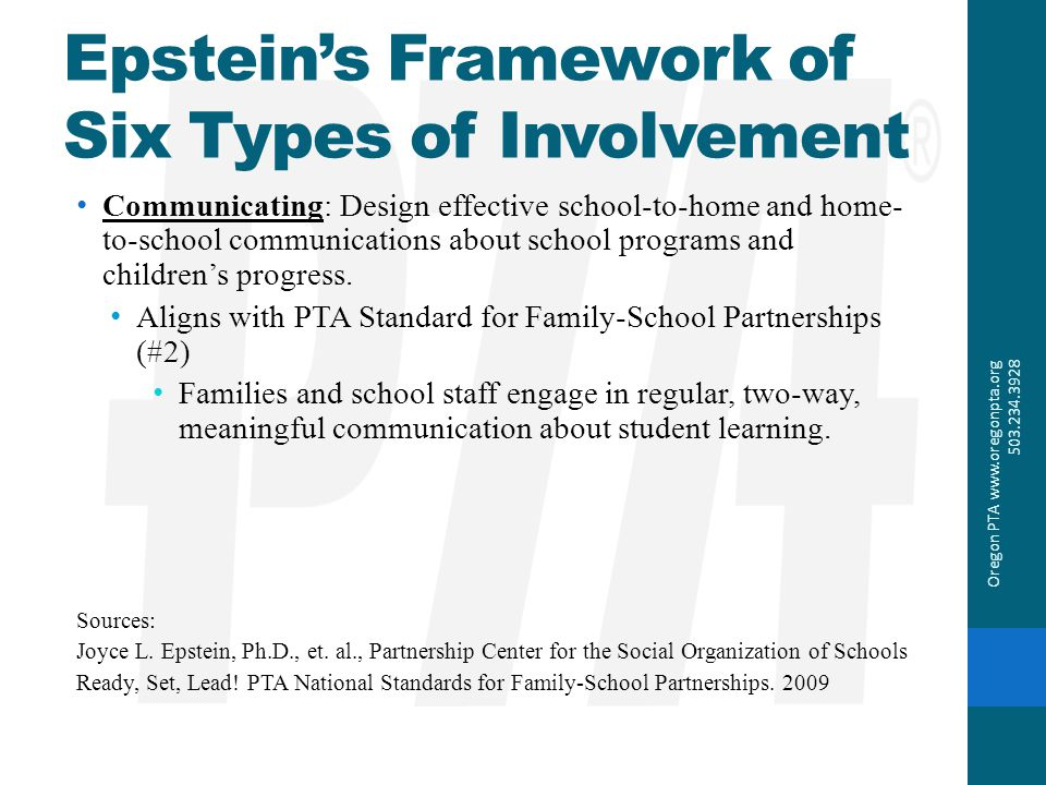Epstein's Framework of Six Types of Involvement Communicating: Design effective school-to-home and home- to-school communications about school program