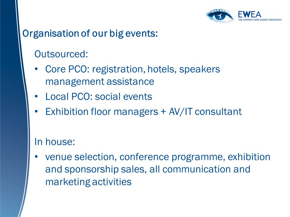 Organisation of our big events: Outsourced: Core PCO: registration, hotels, speakers management assistance Local PCO: social events Exhibition floor managers + AV/IT consultant In house: venue selection, conference programme, exhibition and sponsorship sales, all communication and marketing activities